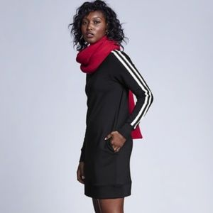 Athleta Black Stripe Circa Track Sweatshirt Dress